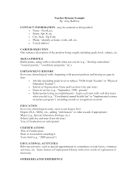 Exclusive Idea Biology Resume Elementary Teacher Examples High