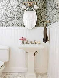 White Beadboard Wainscoting In Bathroom With Wallpaper And ...