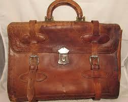 Vintage Old Worn Brown Leather Briefcase, home decor, display