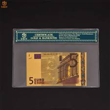24k <b>Color</b> Gold <b>Banknote</b> European Currency Paper Euro 5 Gold ...
