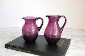 vintage purple le glass pitcher set purple le glass pitchers lilac lavender glass by