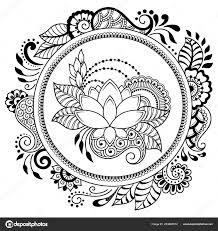 Circulaire Patroon Vorm Van Een Mandala Met Lotus Voor Henna