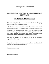 Application For No Objection Certificate For Job Sample Resume