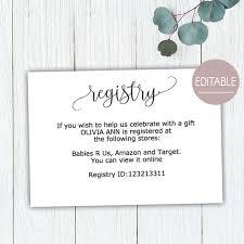 Gift Registry Card Baby Shower Gift Registry Card Template Wedding Gift Registry Instant Download Details Cards Rustic Bridal Shower B11