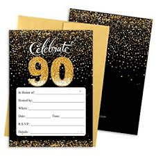 90 Birthday Party Invitations Amazon Com Black And Gold 90th Birthday Party Invitations