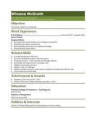 Restaurant Cashier Resume Template Resume Templates And Samples