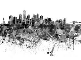new york skyline painting new york skyline in watercolor on white background by pablo romero