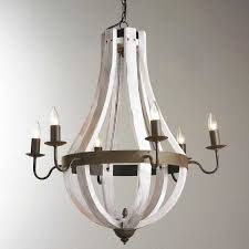 vineyard 6 light metal and wood chandelier elegant white wood beads and iron basket chandelier light