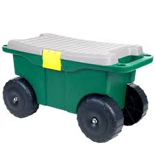 pure garden 20 in plastic garden storage cart and scooter