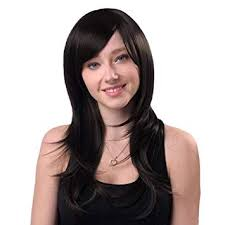 CRIBE Women's <b>Side Bangs Long Straight</b> Synthetic Hair Heat ...