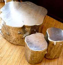tree trunk furniture for sale. silver painted tree trunk coffee and side tables or stools furniture for sale