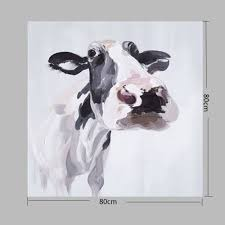 happy art modern hand painted cow canvas home decoration oil painting