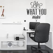 inspiring office decor. New Arrival Inspiring Quotes Decals For Bedroom Office Decor Life Is What You Make It Vinyl Wall Sticker Creative Stickers ZA715-in From Home