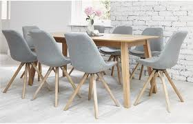 tasteful dining room furniture extendable 8 seater table set plank medium brown wood concrete for 6