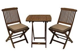 com outdoor interiors eucalyptus 3 piece square bistro outdoor furniture set includes cushions garden outdoor