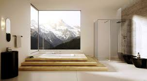 Bathroom:Relaxing Spa Bathroom Design With Wooden Bench Seating And Cream  Tile Wall Ideas Awesome