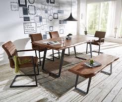 Esstischgruppe Live Edge Akazie 180x100 Braun 4 Stühle 1 Bank