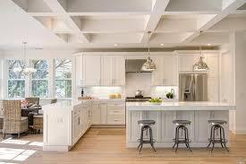 white cabinet transitional kitchen with arctic white quartz