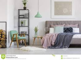Mint green furniture Vintage Feminine Modern Bedroom Interior With Pastel Pink And Mint Green Elements Vintage Furniture And White Walls Dreamstimecom Feminine Bedroom With Vintage Furniture Stock Photo Image Of