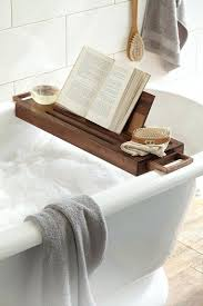 wooden bath caddy bamboo with book stand wine glass holder tray