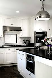 Modern black and white kitchen backsplash tile