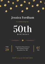 Black And Gold Dotted Background 50th Birthday Invitation