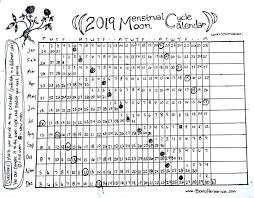 2019 Menstrual Cycle Moon Calendar Beans Herbarium