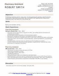 Pharmacist Assistant Resumes Pharmacy Assistant Resume Samples Qwikresume