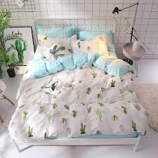 printing white green cactus stripe plant bedding set bed linen duvet cover pillowcase twin full queen king size kid girl boy set bedding sets queen bedding