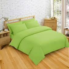 non iron luxury easycare plain dyed double duvet cover 2 pillow cases bed set lime green co uk kitchen home