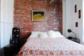 Brick Bedroom Furniture. Small Industrial Bedroom With Exposed Brick Wall  [photography: Corynne Pless