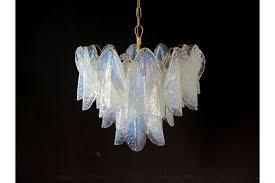 italian vintage murano chandelier mazzega 36 opalino glass rondini