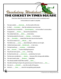 answer key for the voary word definitions quiz from the cricket in times square woo jr kids activities
