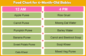 6 Month Diet Chart Food Chart For 6 Months Baby With Recipe And Pictures