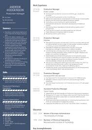 Production Manager Resumes Production Manager Resume Samples And Templates Visualcv