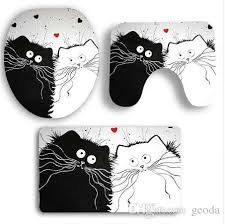 2019 polyester love two cats bath mats toilet lid cover mat absorbent floor rug carpet non slip pvc bathroom decor from geoda 28 65 dhgate com