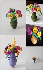 Paper Flower Base Quilling Miniature Paper Flowers In A Vase Oldfox004