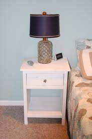 Metal Side Tables For Bedroom Ethnic Black Shade Table Lamp On White Stained Wooden Nighstand
