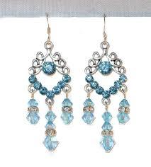 aquamarine blue crystal chandelier earrings silver prom 2