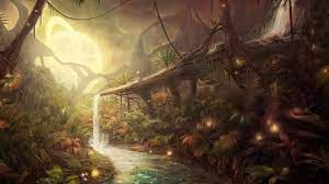 Forest river painting, nature, jungle ...