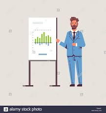 How To Make A Flip Chart Presentation Businessman Presenting Financial Graph On Flip Chart Board