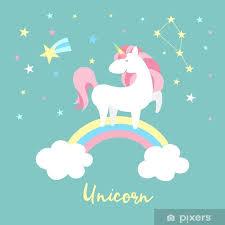 Nálepka Unicorn Znaková Sada Roztomilá Kouzelná Sbírka S Jednorožec Duha Srdce Pohádkové Křídla A Balón Catroon Styl Vektorové Ilustrace