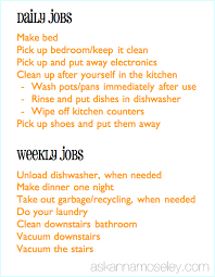Teenager Chore List Mozo Carpentersdaughter Co