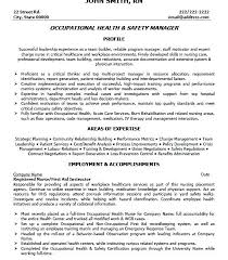 Safety Manager Resume Health And Safety Resume Socialum Co