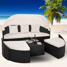 poly rattan day bed 230cm outdoor patio canopy garden furniture lounger sofa