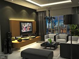 Apartment:Modern Black Theme Apartment Living Room Apartment Living Room  Design Ideas