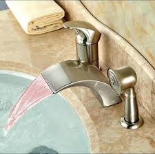 waterfall bathtub faucet 3 hole bathtub faucets luxury led light widespread waterfall bathtub tub mixer taps deck mount bathroom faucet taps brushed nickel