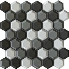 china new hexagon 2 inch tile wall decorative glass mosaic china building materials mosaic hotel mosaic