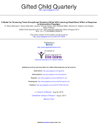 pdf a case study of giftedness and specific learning diities bridging the two exceptionalities