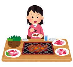 一人焼肉のイラスト(女性) | かわいいフリー素材集 いらすとや